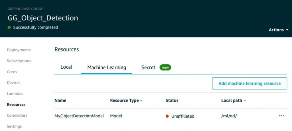 greengrass console screenshot showing unaffiliated ml resource