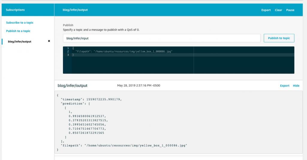 screenshot of IOT console testing inference on lambda