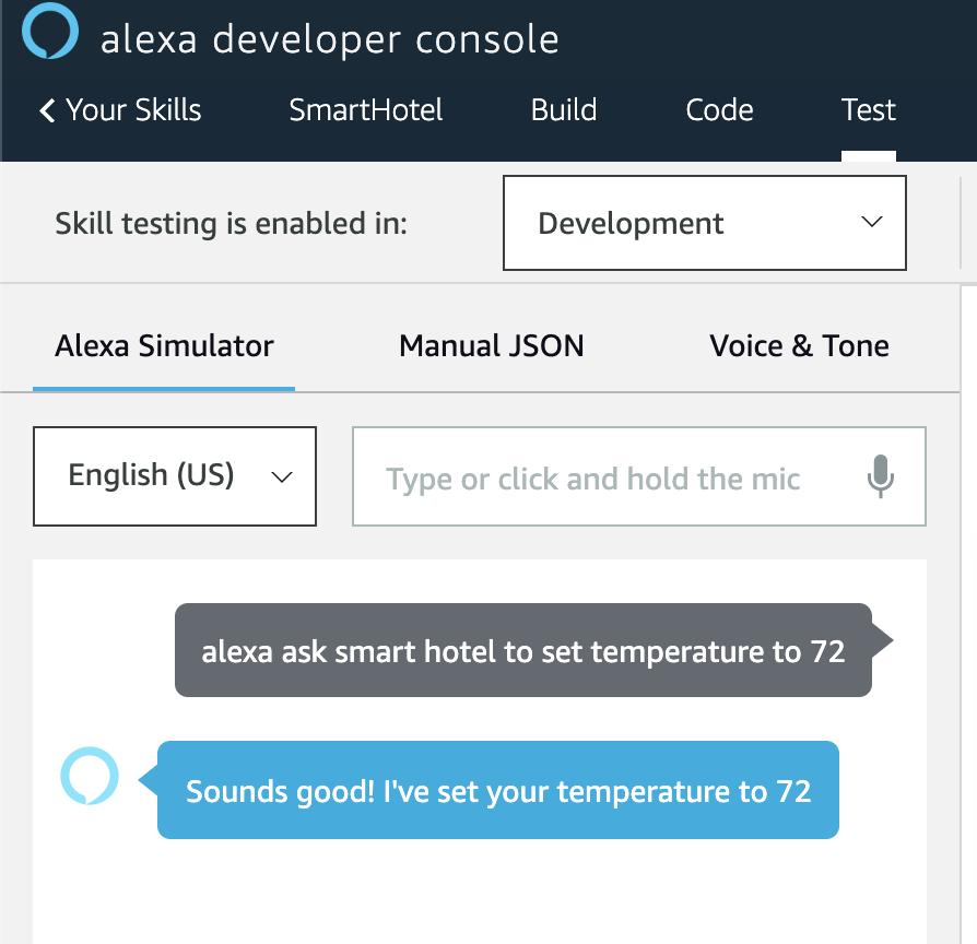 Alexa developer console testing interface.