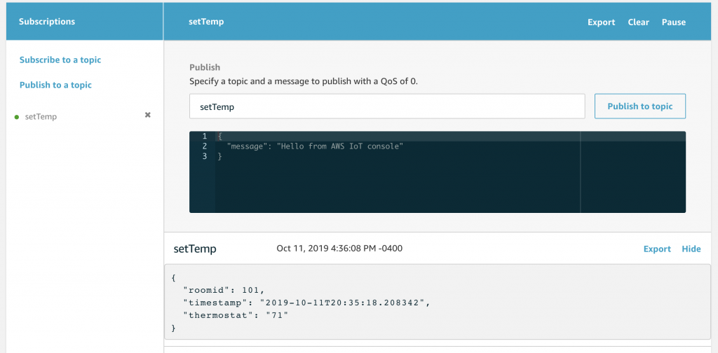 IoT Core Test screen showing message from Alexa to device.