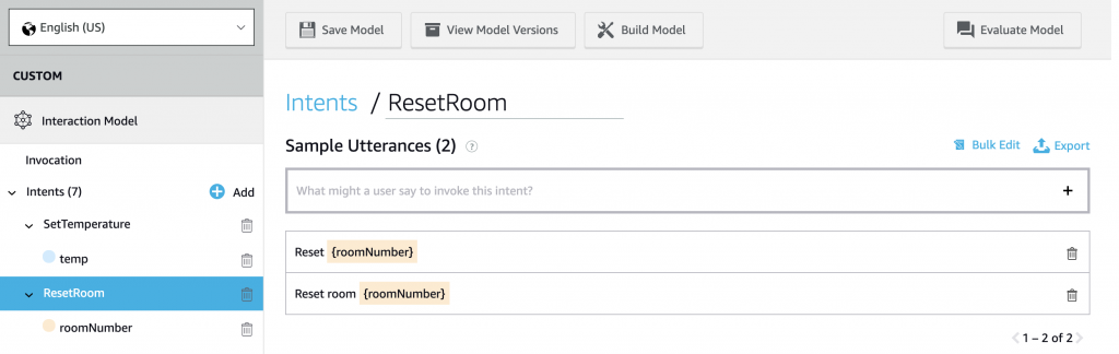 Reset Room Intent with multiple utterances