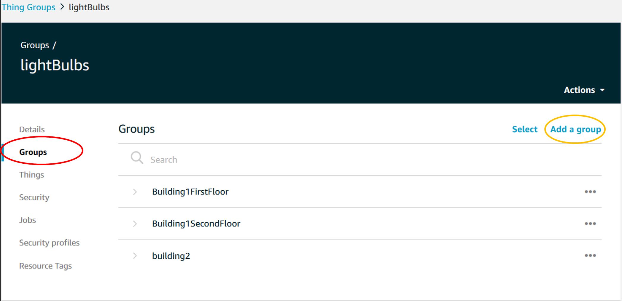 AWS IoT Things Groups