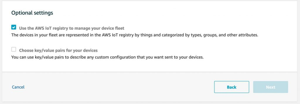 This image shows the optional settings you can select when setting up your AWS IoT Fleet Provisioning template