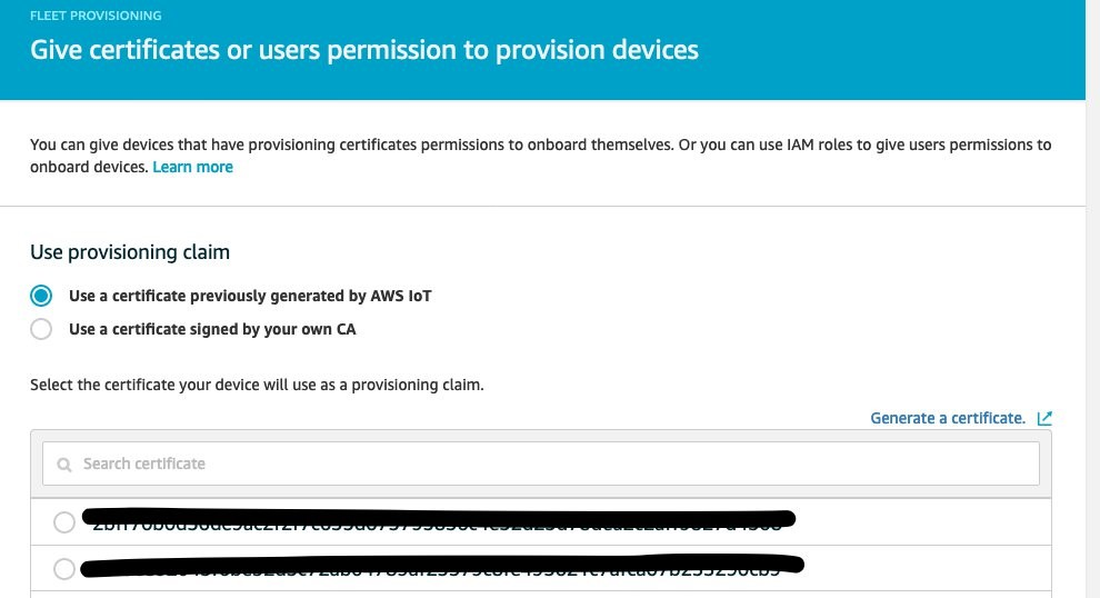 This image shows where you can give certificates or users permission to provision devices in the AWS Management Console
