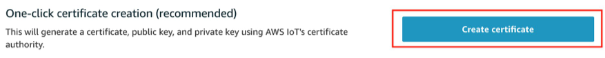 This shows where you create a certificate in the AWS IoT console