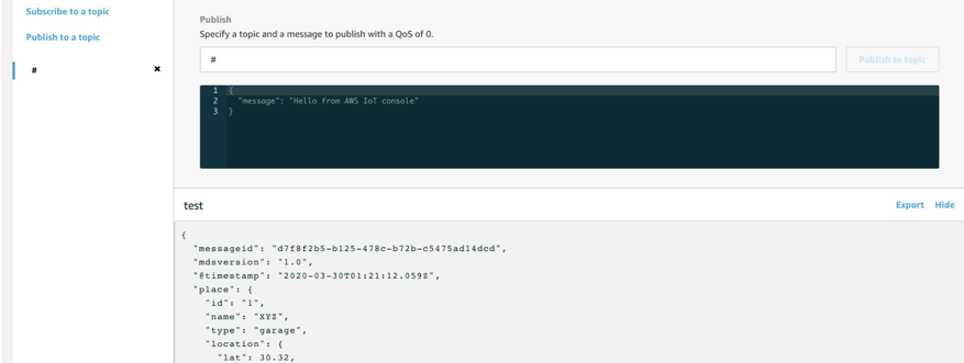 This shows MQTT messages start to show up on the console after the app successfully runs in AWS IoT Core console