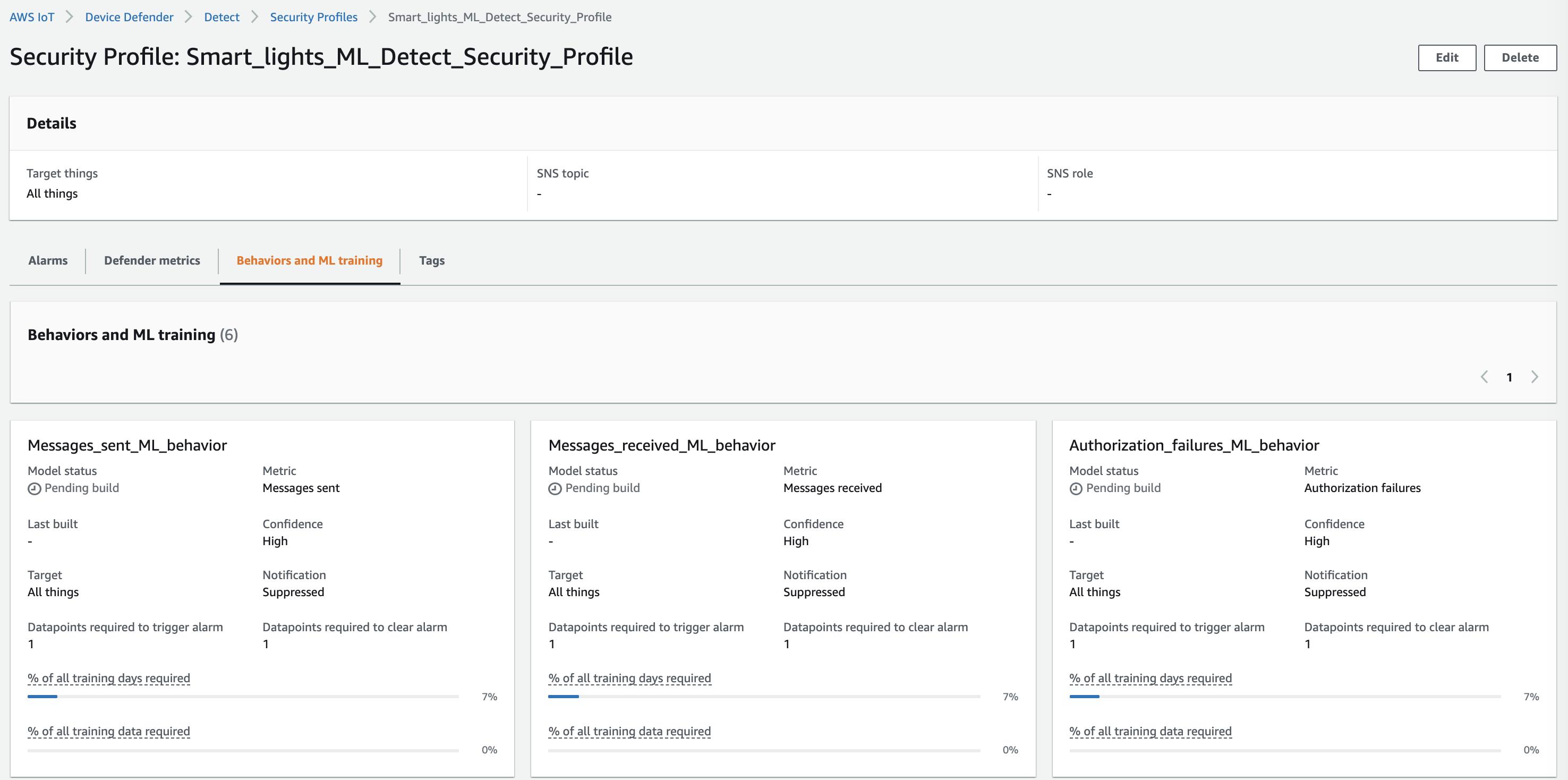 ML Detect security profile status