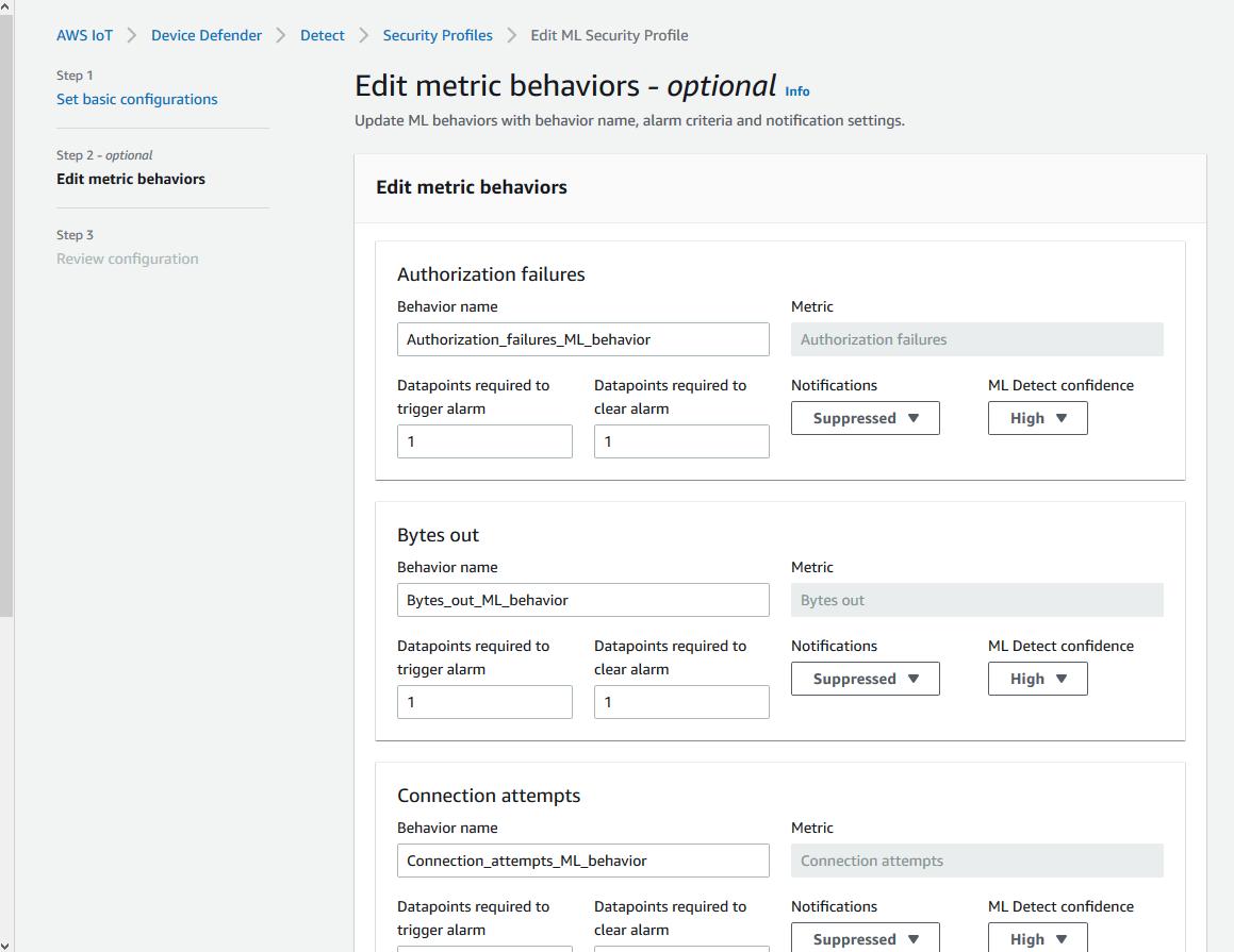 Edit metric behaviors