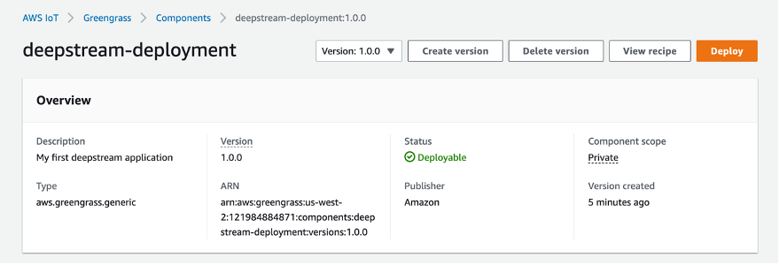 This image shows the AWS Management Console, AWS IoT Greengrass V2 Components Deployment