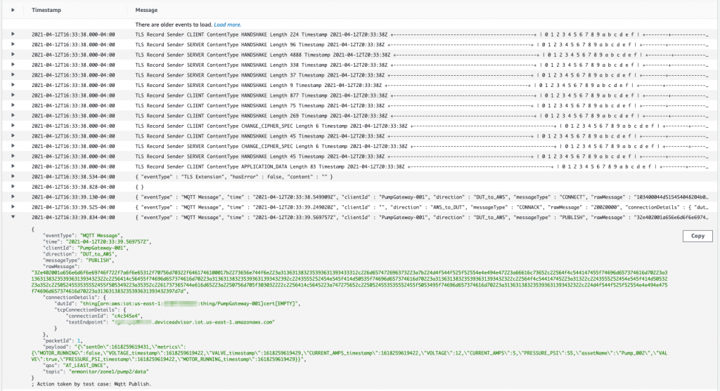 Amazon CloudWatch Logs showing published messages to AWS IoT Core Device Advisor.