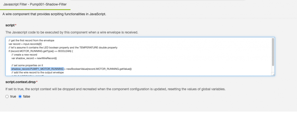 AWS IoT Device Shadow implementation as a JavaScript Filter in Everyware Software Framework