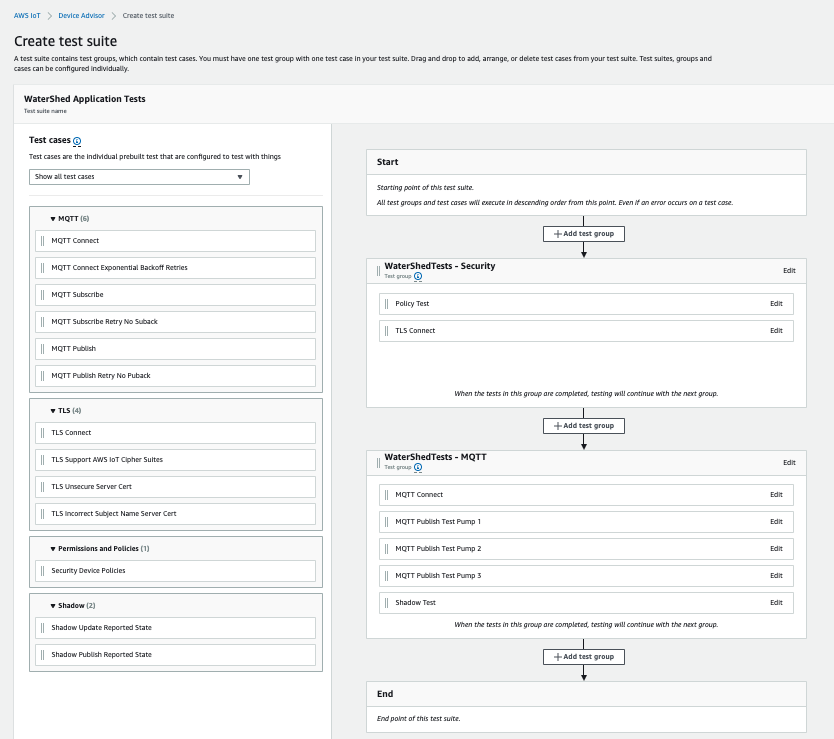 Test suite creation from the AWS IoT Core Device Advisor console