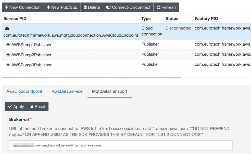 The MQTT broker endpoint is changed to point to the Device Advisor endpoint under the 'Broker-url' configuration parameter in ESF