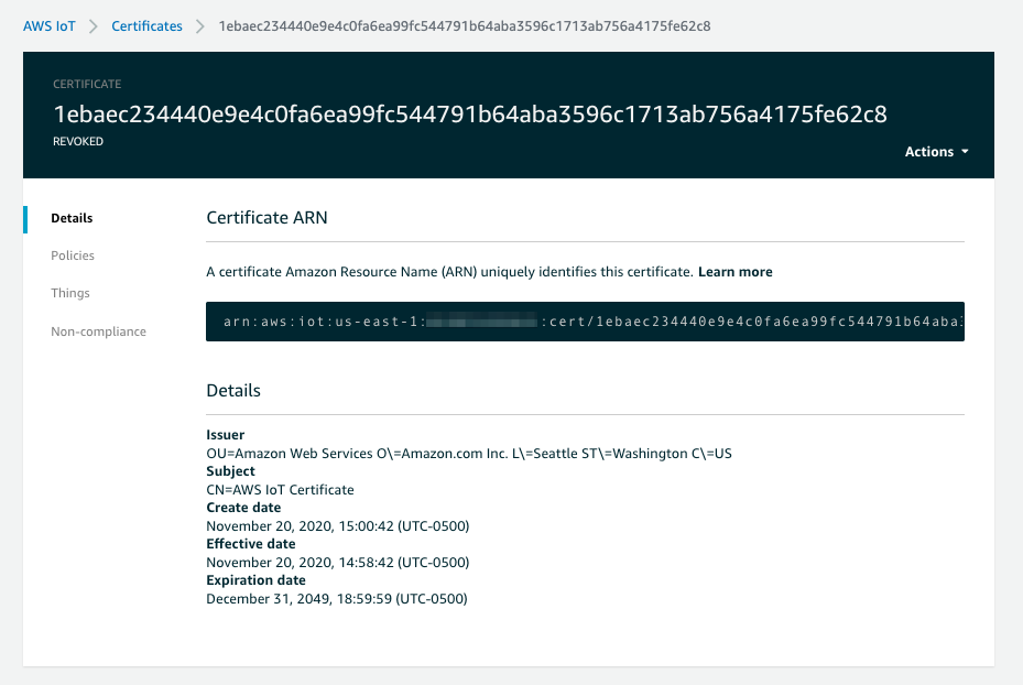 This shows what the AWS IoT console looks like when the certificate on AWS IoT has been revoked.