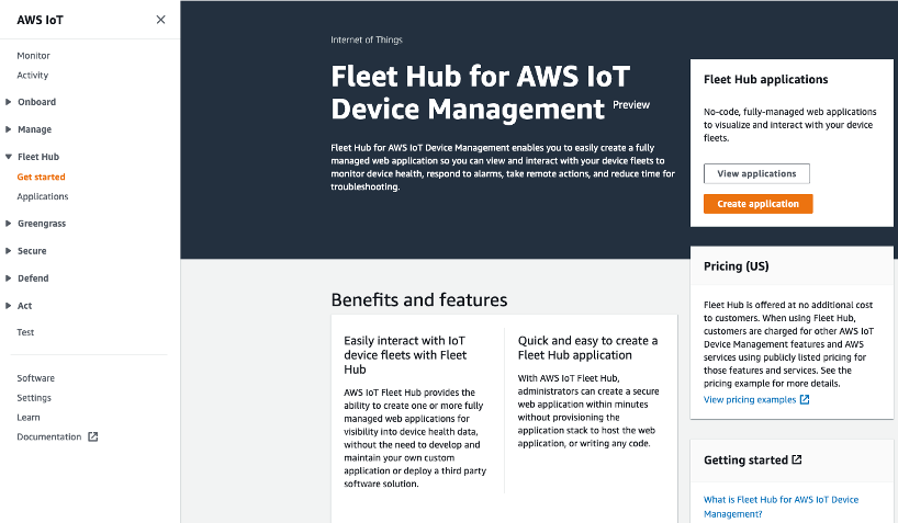 How to enable a Fleet Hub portal from the AWS IoT Device Management console