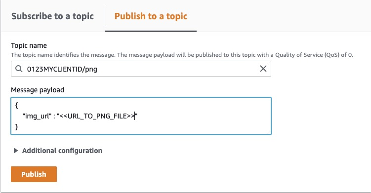 Figure 2 - Sending a message using the AWS IoT MQTT test client