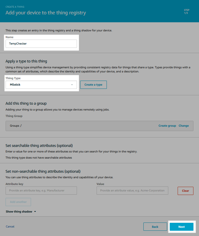 Screenshot of the form to add your device to the thing registry.