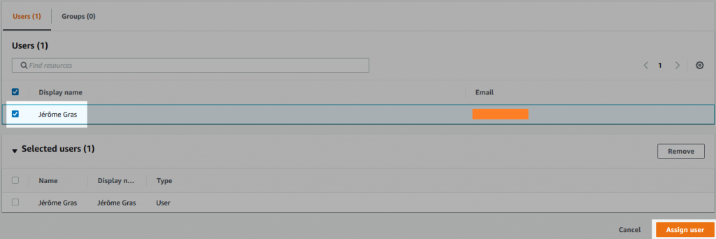 Screenshot of the users configuration form.