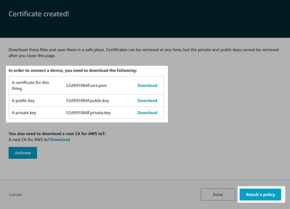 Screenshot of the certificate created.