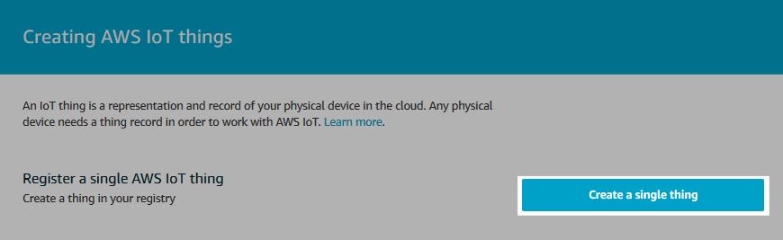 Screenshot of the AWS IoT thing creation start.