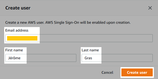 Screenshot of the user creation form.