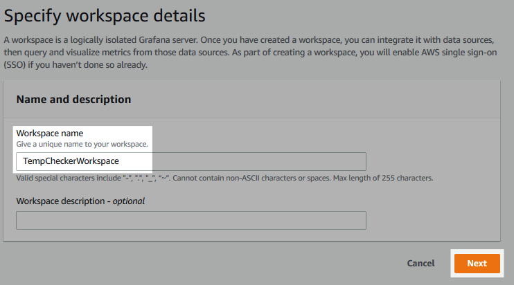 Screenshot of the workspace creation form.