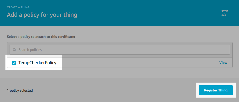 Screenshot of the thing registration completion.
