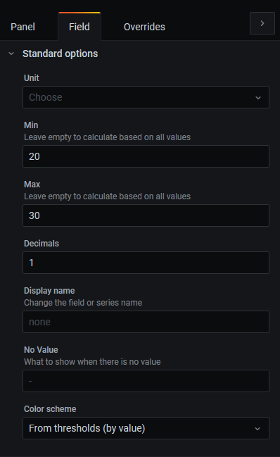 Screenshot of fields configuration form.