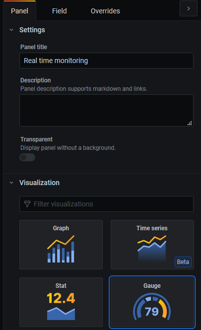 Screenshot of the visualization type selection.