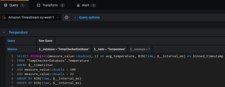 Screenshot of the query configuration for the temperature history panel.