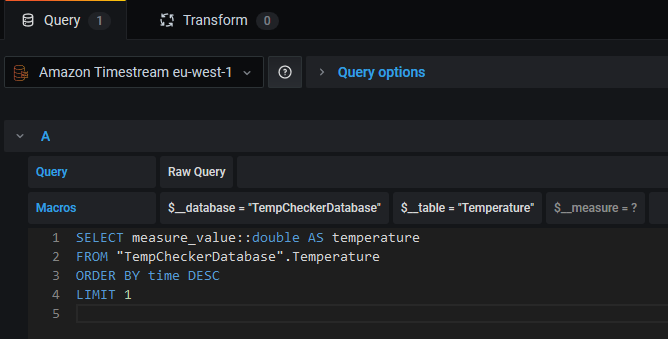 Screenshot of the query configuration for the temperature gauge panel.