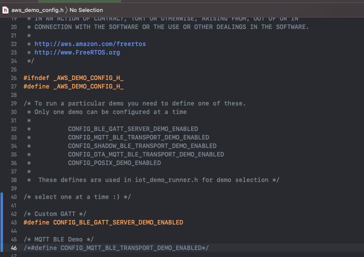 aws demo config header file