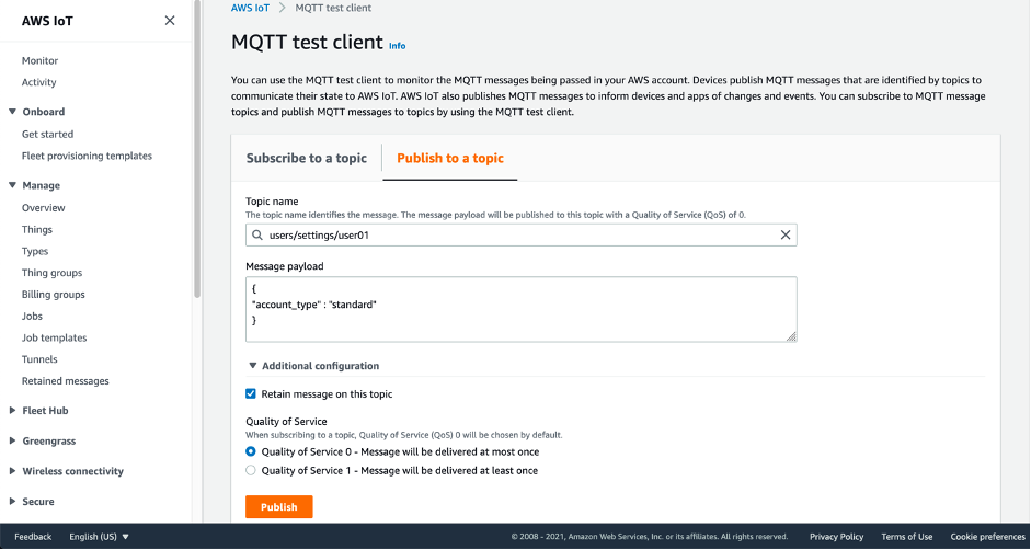 Screenshot showing how to publish a retained message using the MQTT test client within the AWS Console
