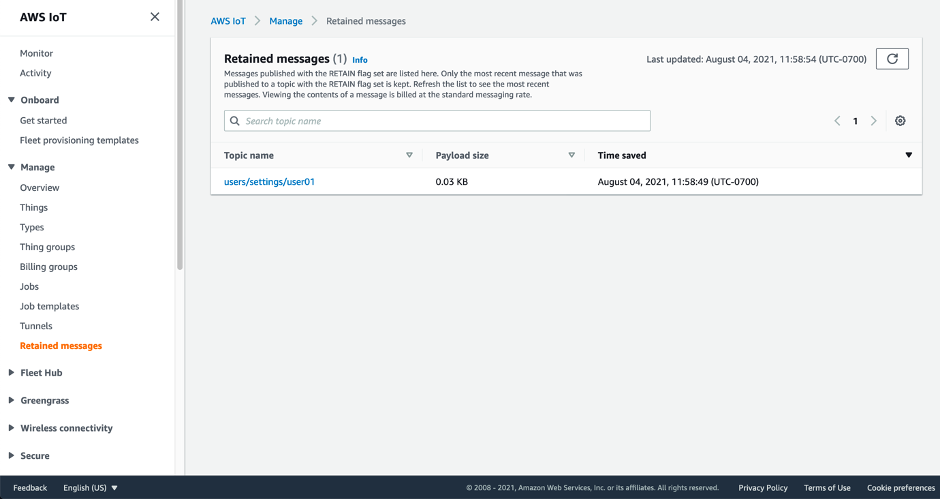 Screenshot showing the Retained message page with the AWS IoT console