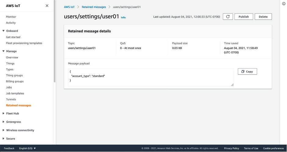 Screenshot showing the details of a retained message within the AWS IoT console