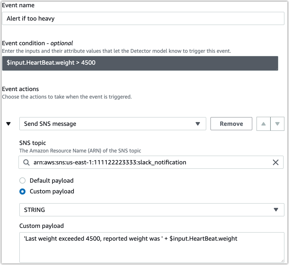 """Alert if too heavy event containing a """"Send SNS message"""" action with a custom payload that uses the weight attribute of the HeartBeat input"""