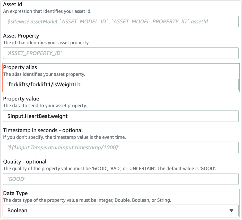 AWS IoT SiteWise action showing the property alias and data type fields highlighted