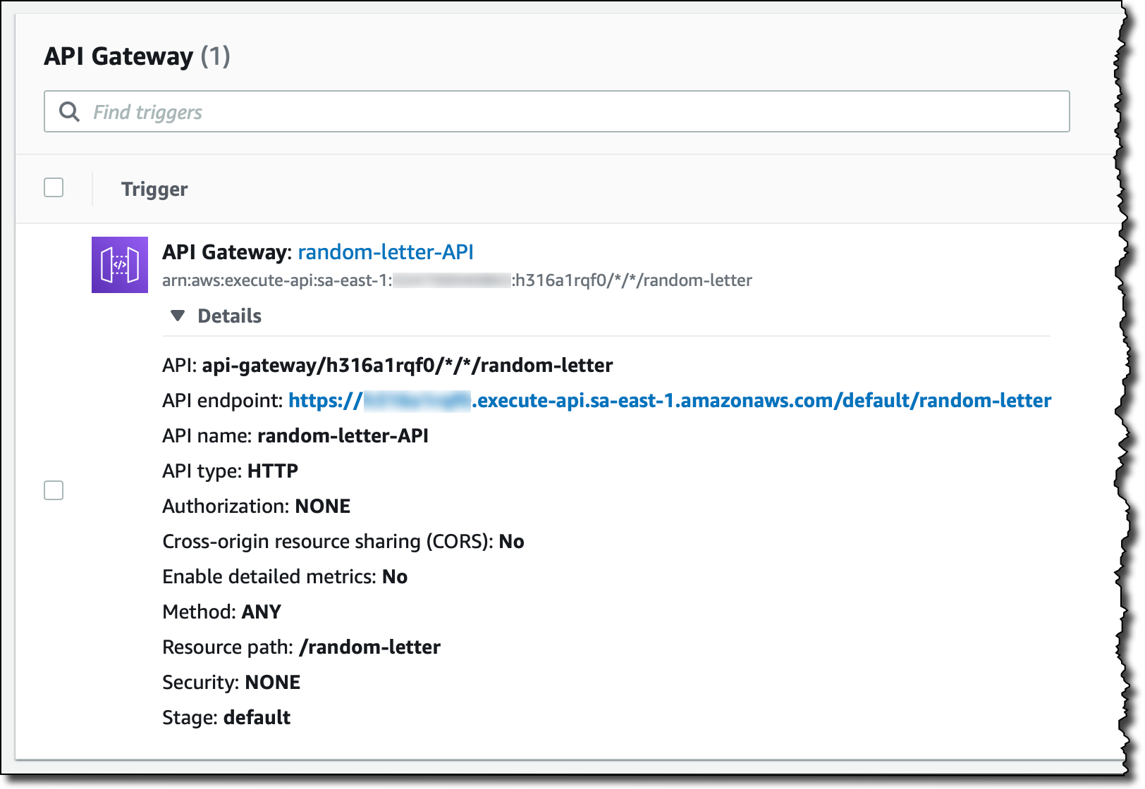 Скриншот консоли AWS: API Gateway в качестве триггера для Lambda-функции