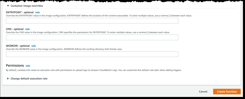 Скриншот консоли AWS: переопределение значений