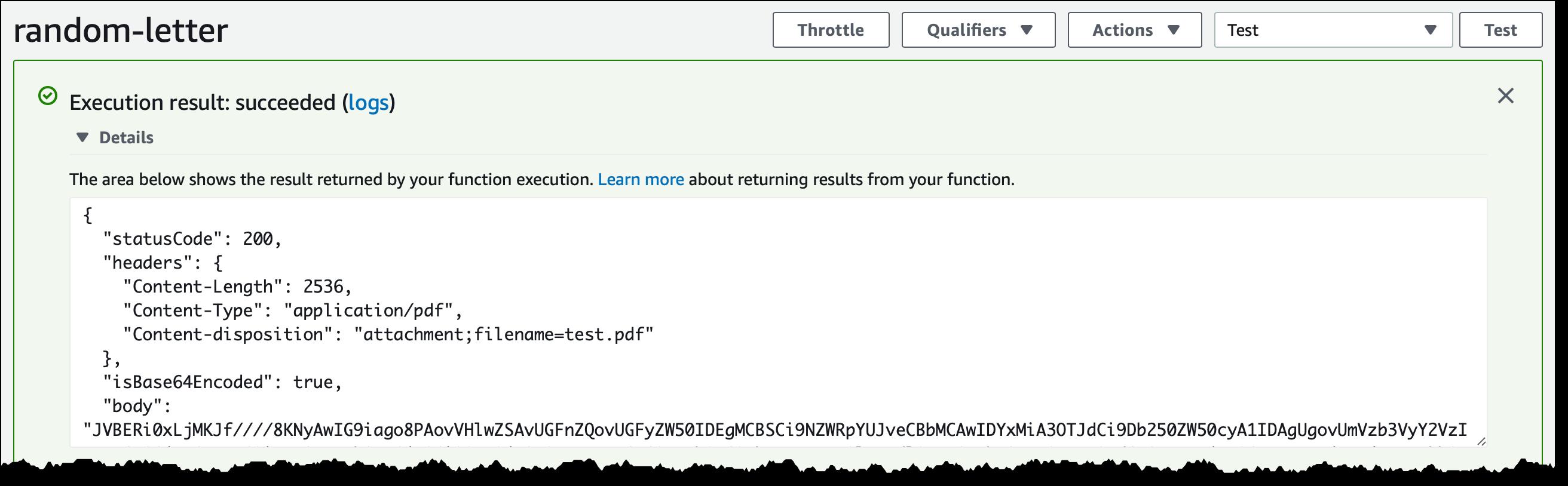 Скриншот консоли AWS: результат тестирования Lambda-функции