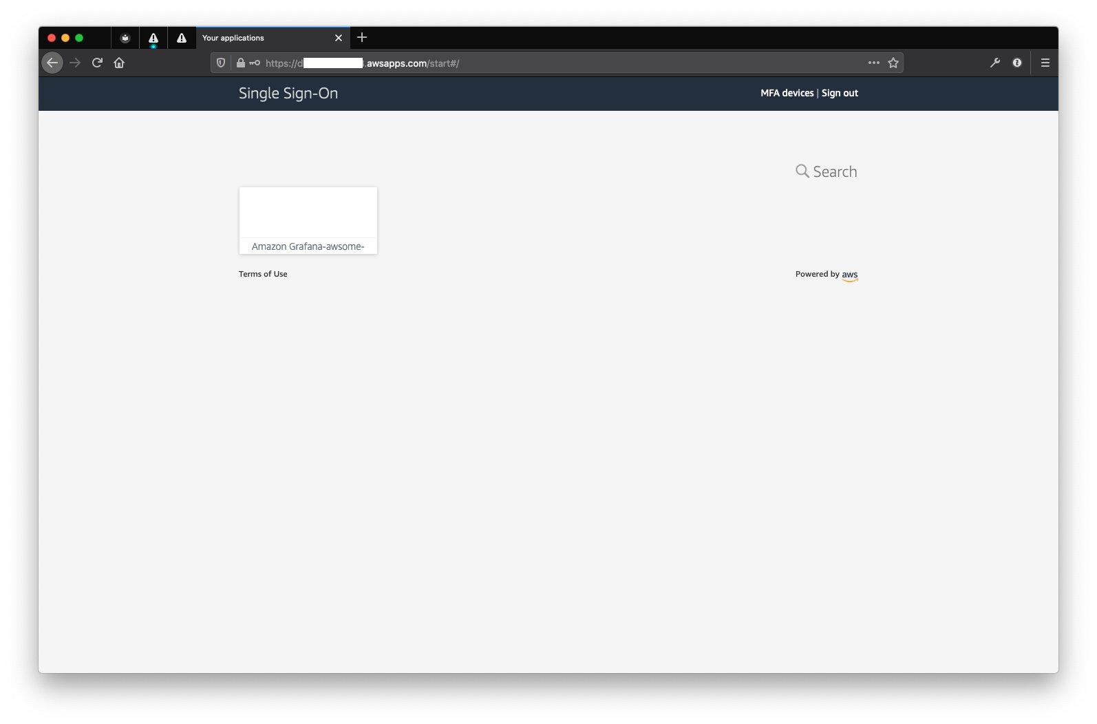 Стартовая страница SSO с приложением AMG
