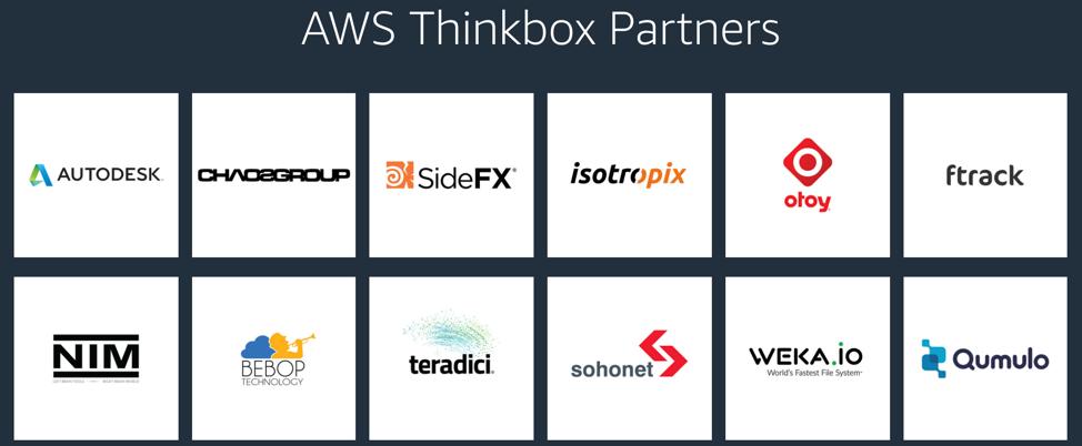 AWS Thinkbox Partners: Autodesk, Chaos Group, Houdini, Isotropix, OTOY, ftrack, NIM, BeBop, Teradici, Sohonet, WekaIO, Qumulo
