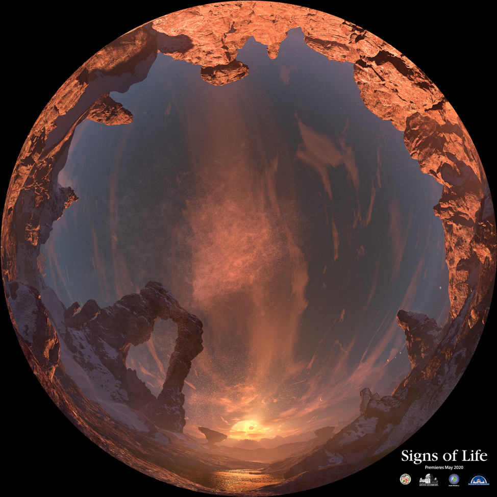 A dome master image from Signs of Life featuring the surface terrain of the exoplanet, Trappist-1e