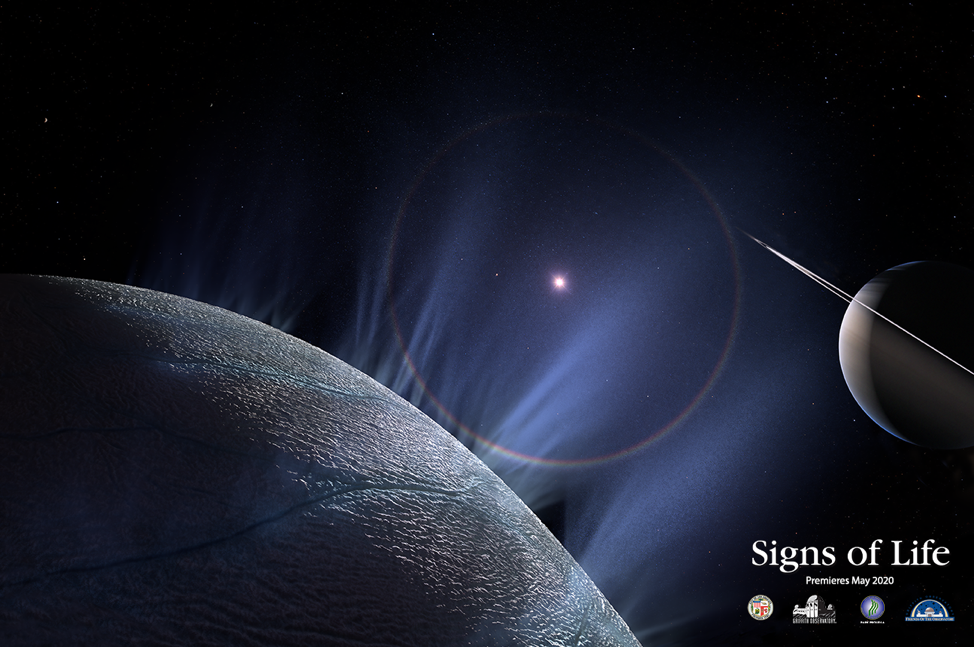 An image from Signs of Life, featuring Enceladus, an icy moon of Saturn.