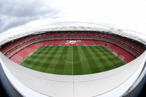 Fisheye lens shot of the Arsenal Football Stadium