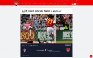 Screenshot of the Arsenal web interface displaying a match report between the Colorado Rapids and Arsenal
