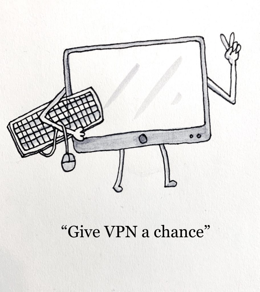 "Illustration of a desktop computer holding its own mouse and keyboard. Illustration titled ""Give VPN a chance"""