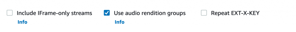 Use audio rendition groups is checked