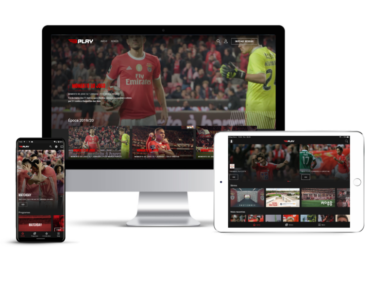 Benfica Play UI on a phone, desktop computer and tablet