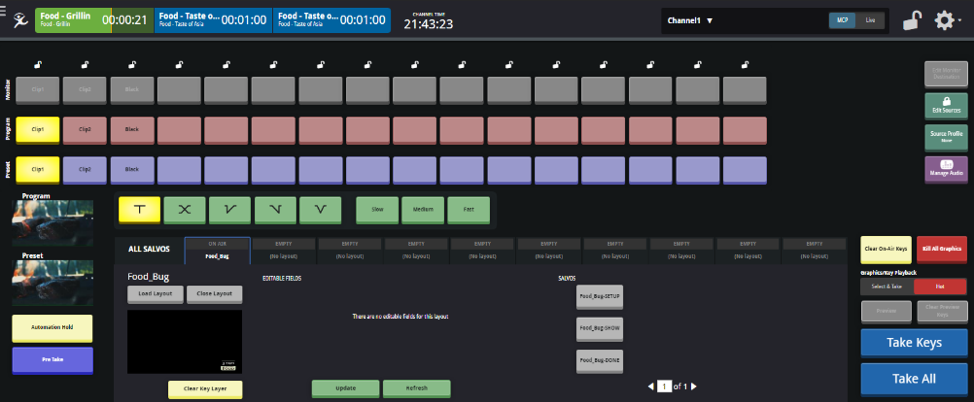 Master Control Switcher: An all-HTML UI with the same features as an on-prem hardware panel